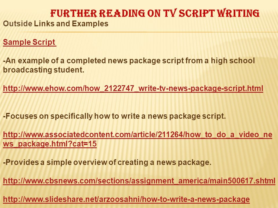 Further reading on tv script writing
