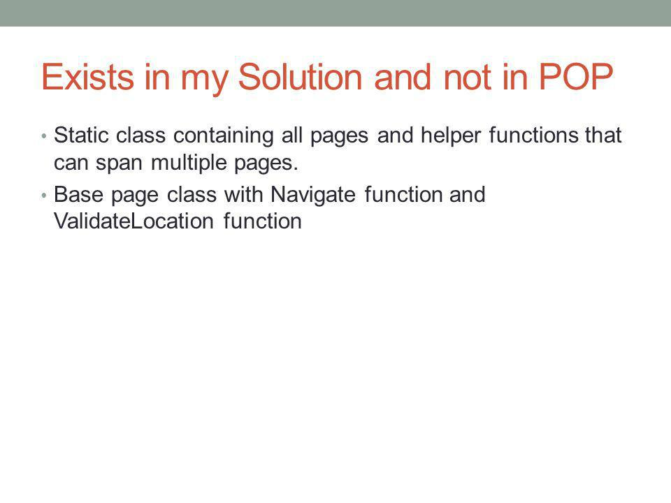 Exists in my Solution and not in POP