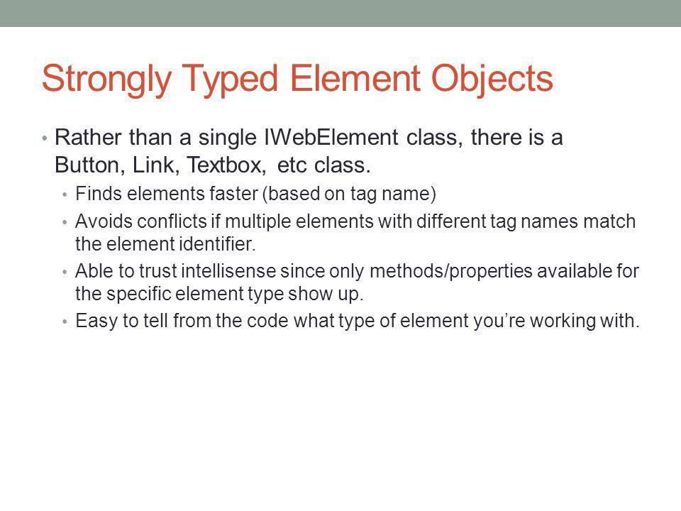 Strongly Typed Element Objects
