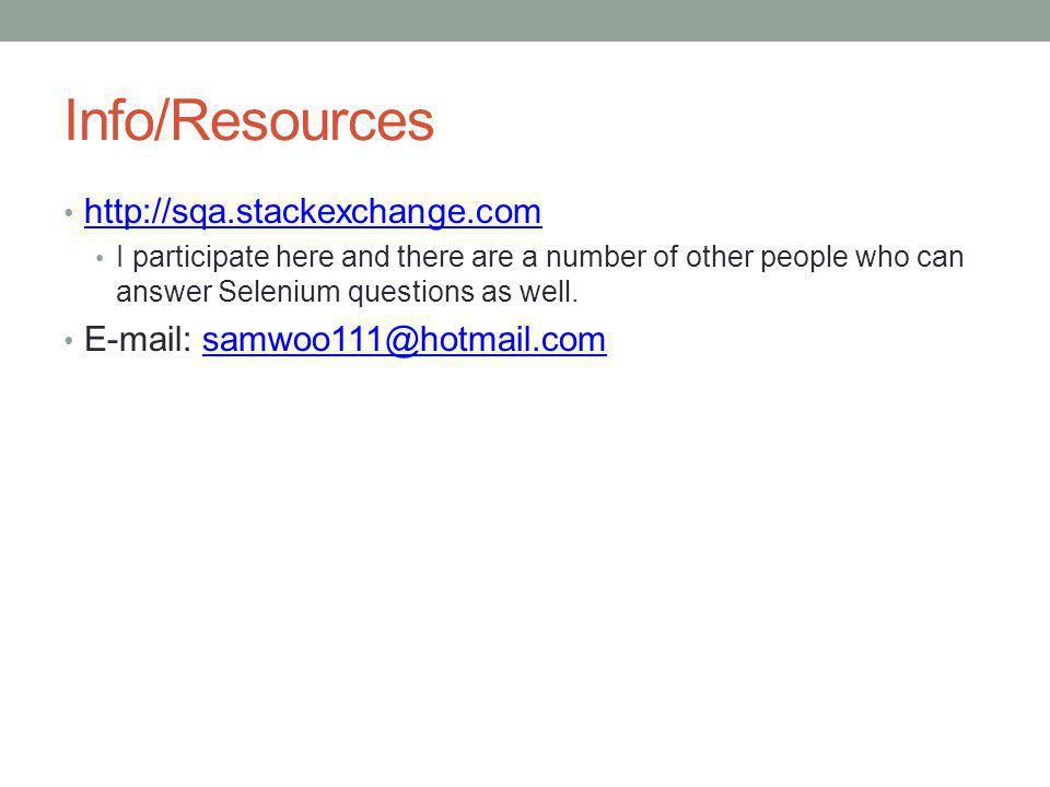 Info/Resources http://sqa.stackexchange.com