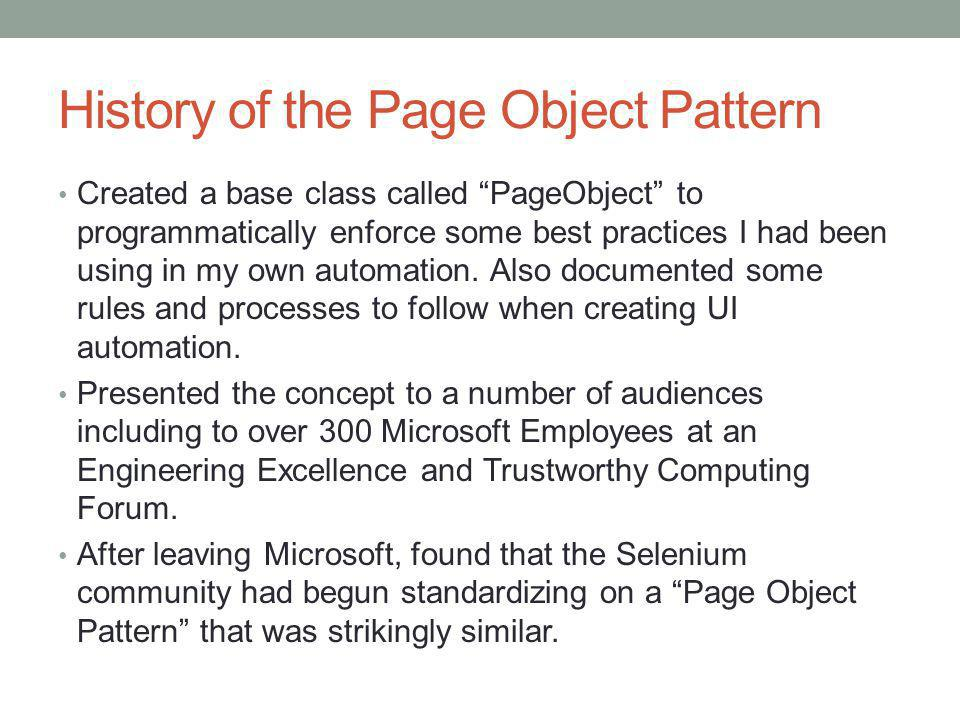 History of the Page Object Pattern