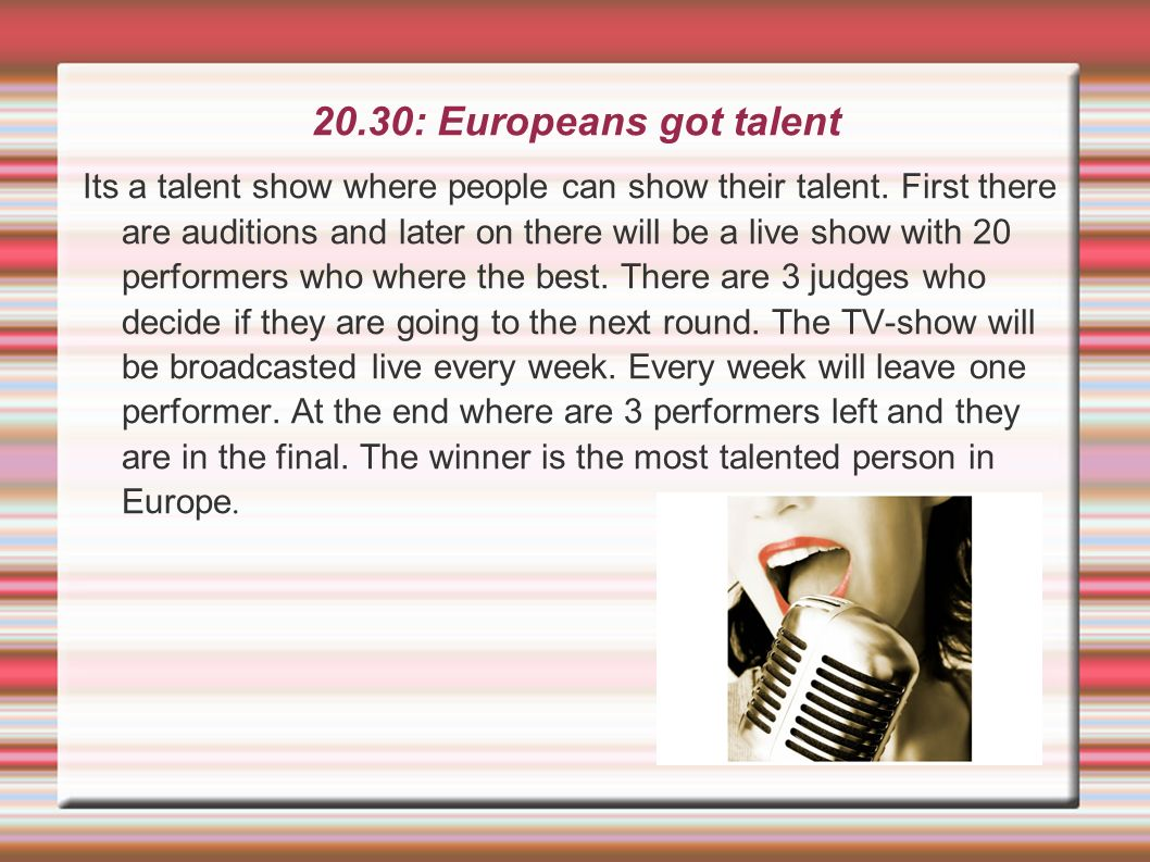 20.30: Europeans got talent