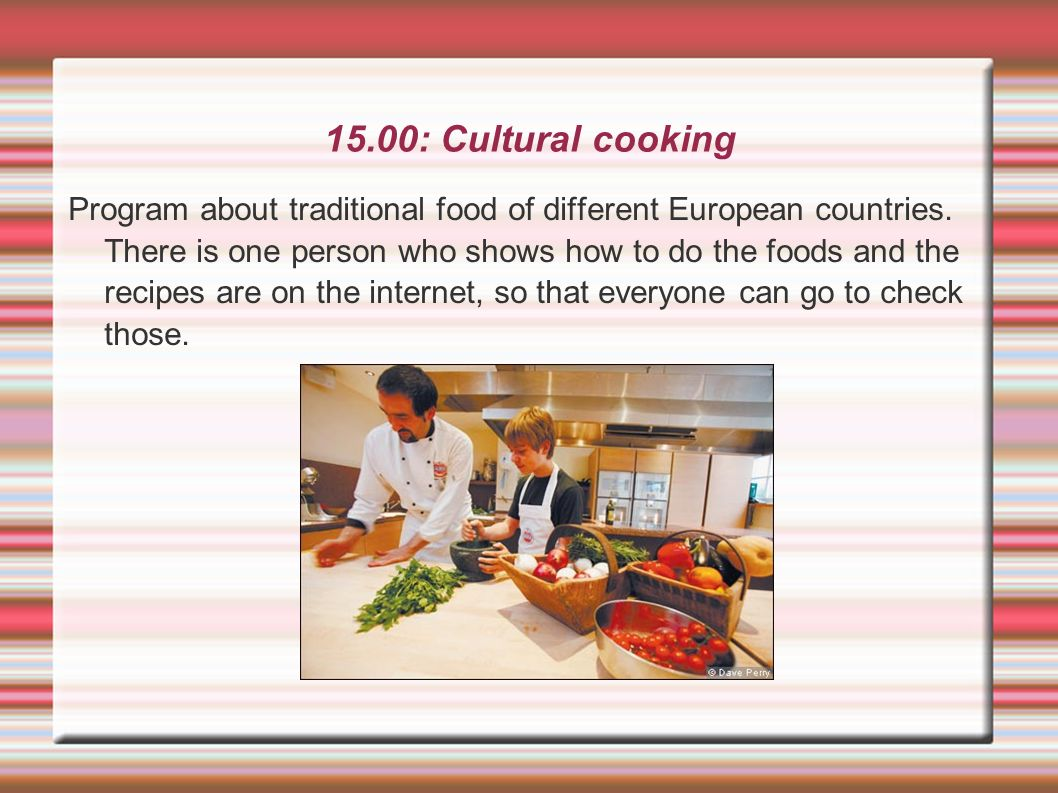 15.00: Cultural cooking