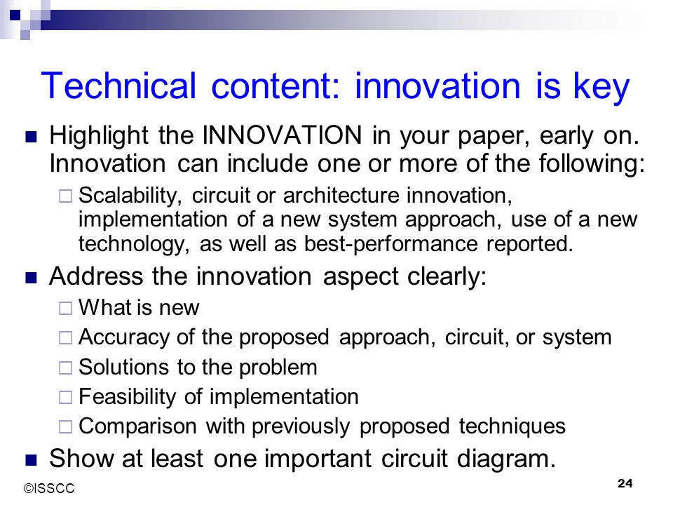 Technical content: innovation is key