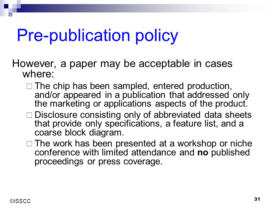 Pre-publication policy