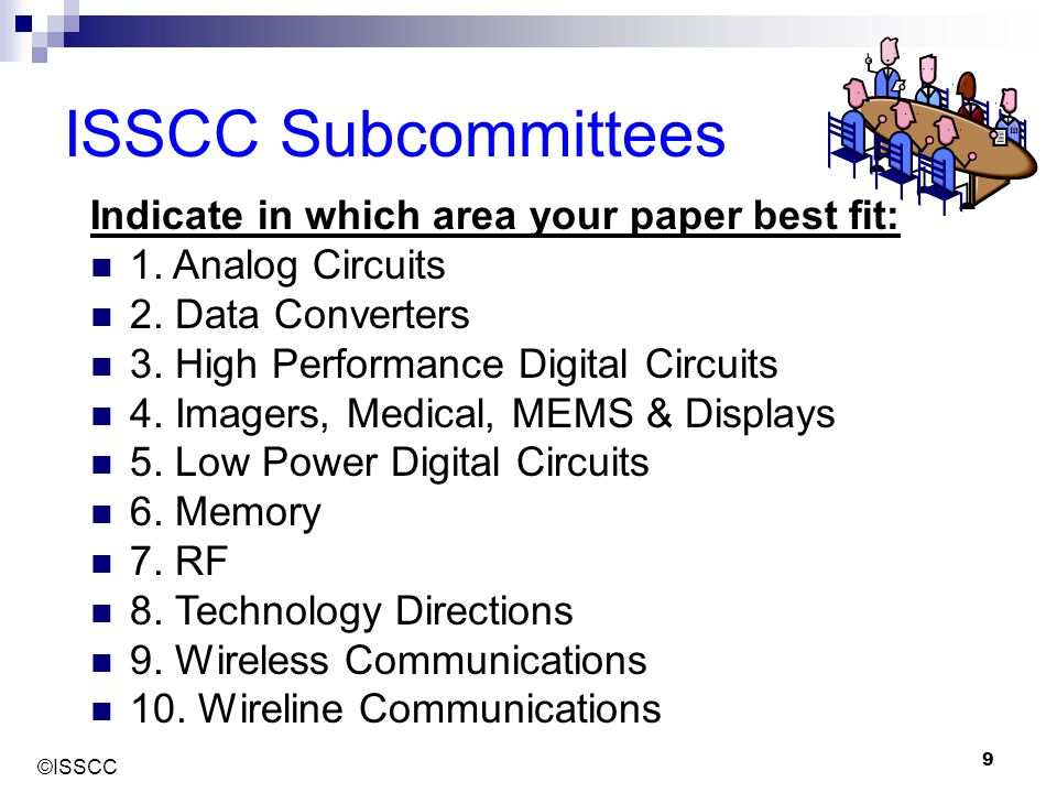 ISSCC Subcommittees Indicate in which area your paper best fit: