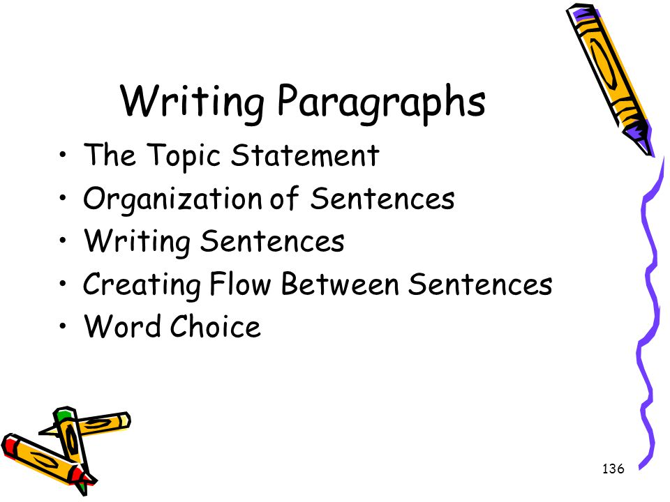 Writing Paragraphs The Topic Statement Organization of Sentences