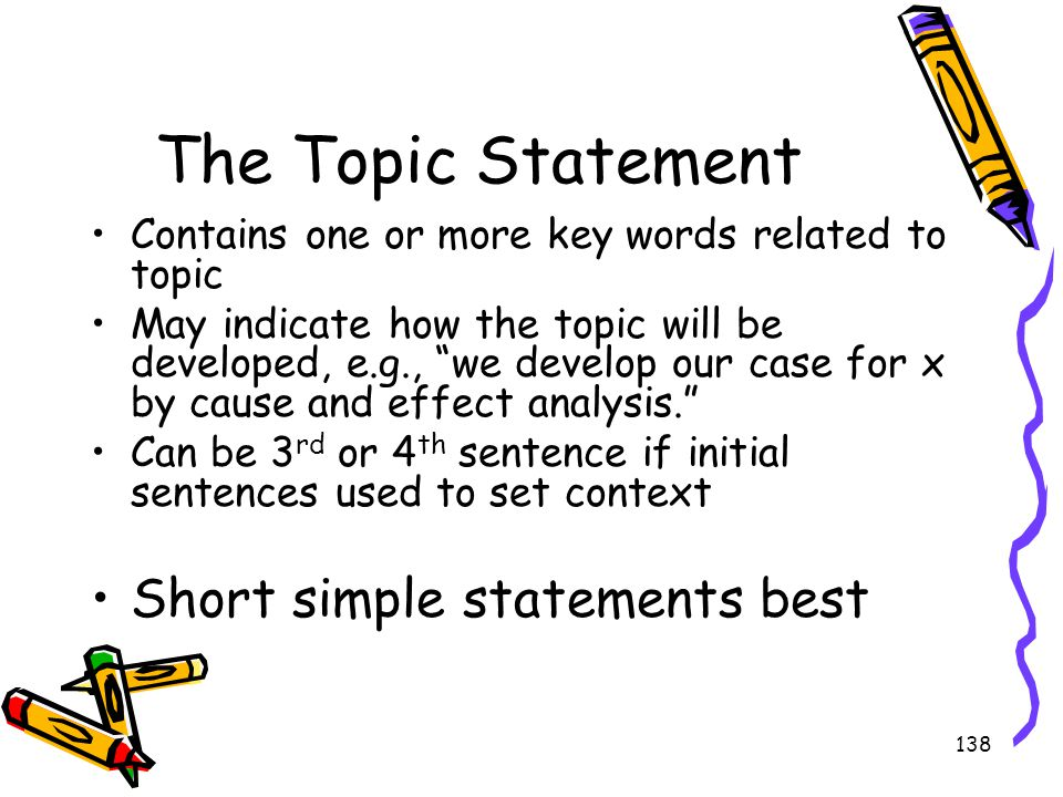 The Topic Statement Short simple statements best