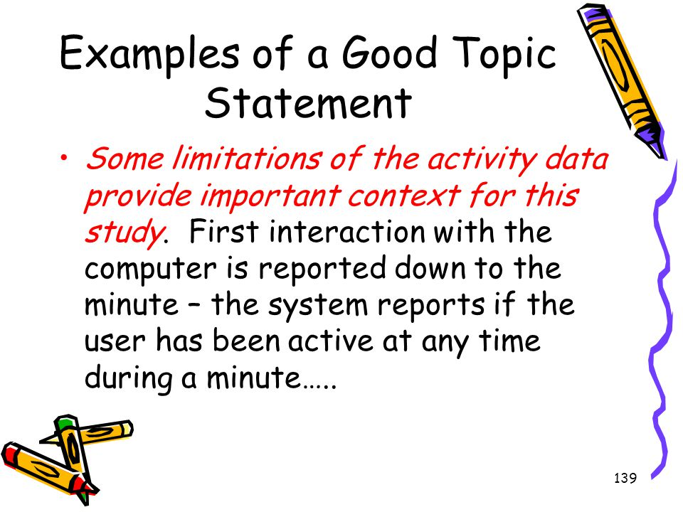 Examples of a Good Topic Statement