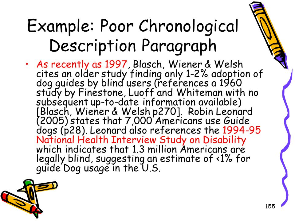 Example: Poor Chronological Description Paragraph