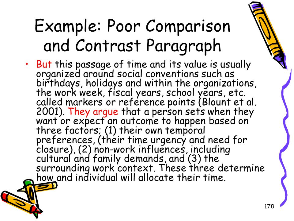 Example: Poor Comparison and Contrast Paragraph