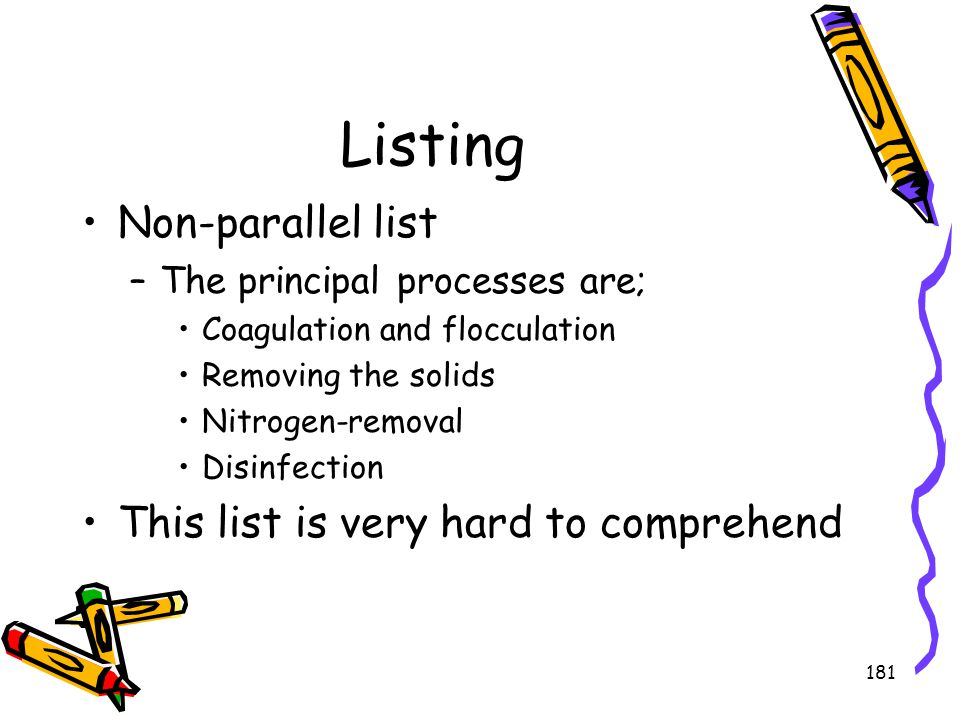 Listing Non-parallel list This list is very hard to comprehend