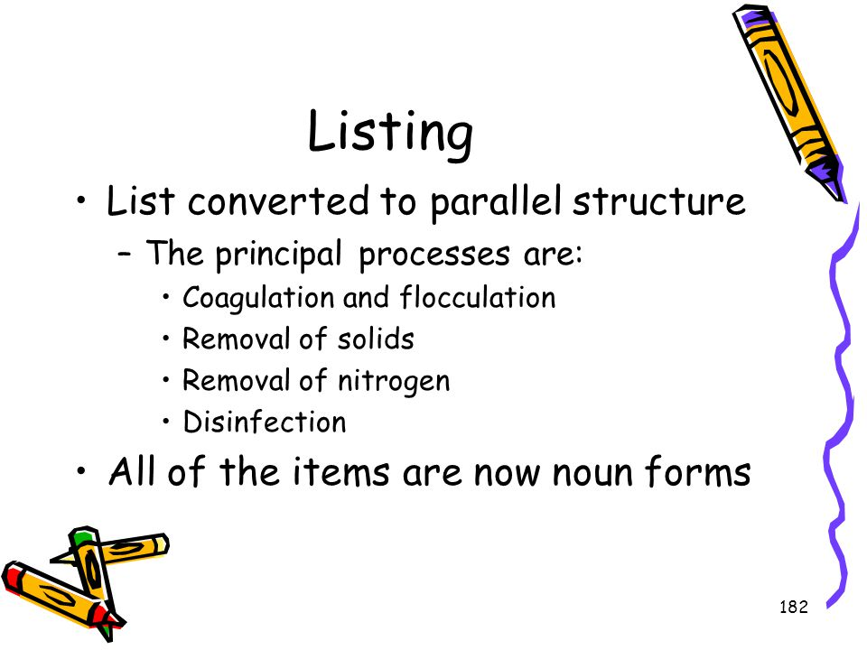 Listing List converted to parallel structure
