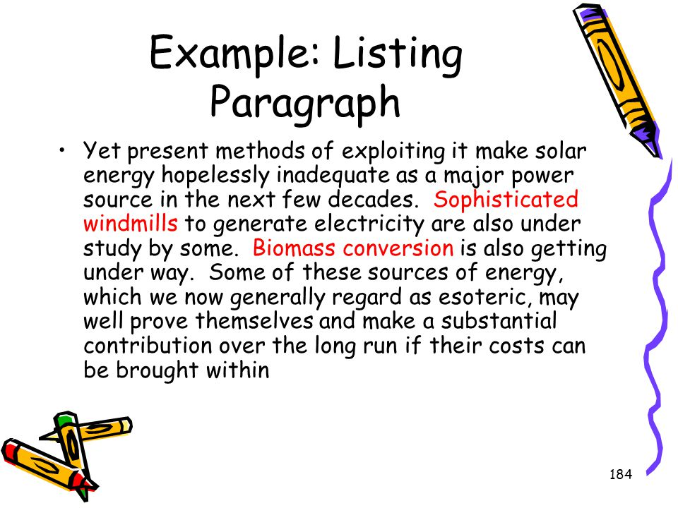 Example: Listing Paragraph