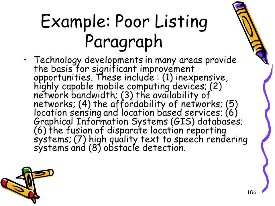 Example: Poor Listing Paragraph