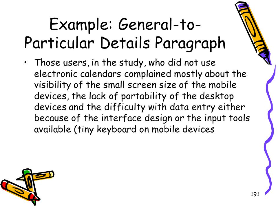Example: General-to-Particular Details Paragraph