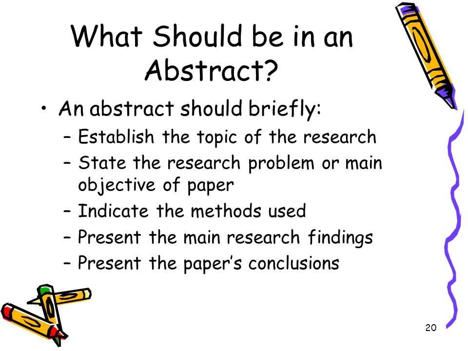 What Should be in an Abstract