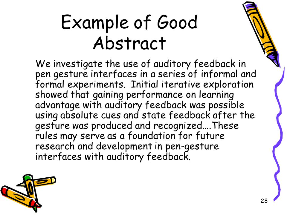 Example of Good Abstract