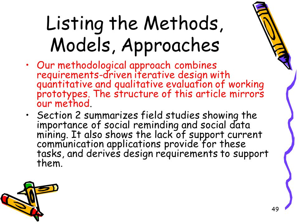 Listing the Methods, Models, Approaches