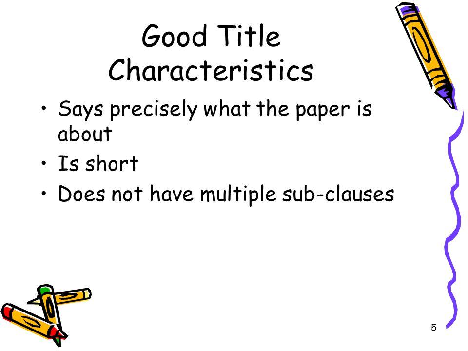 Good Title Characteristics