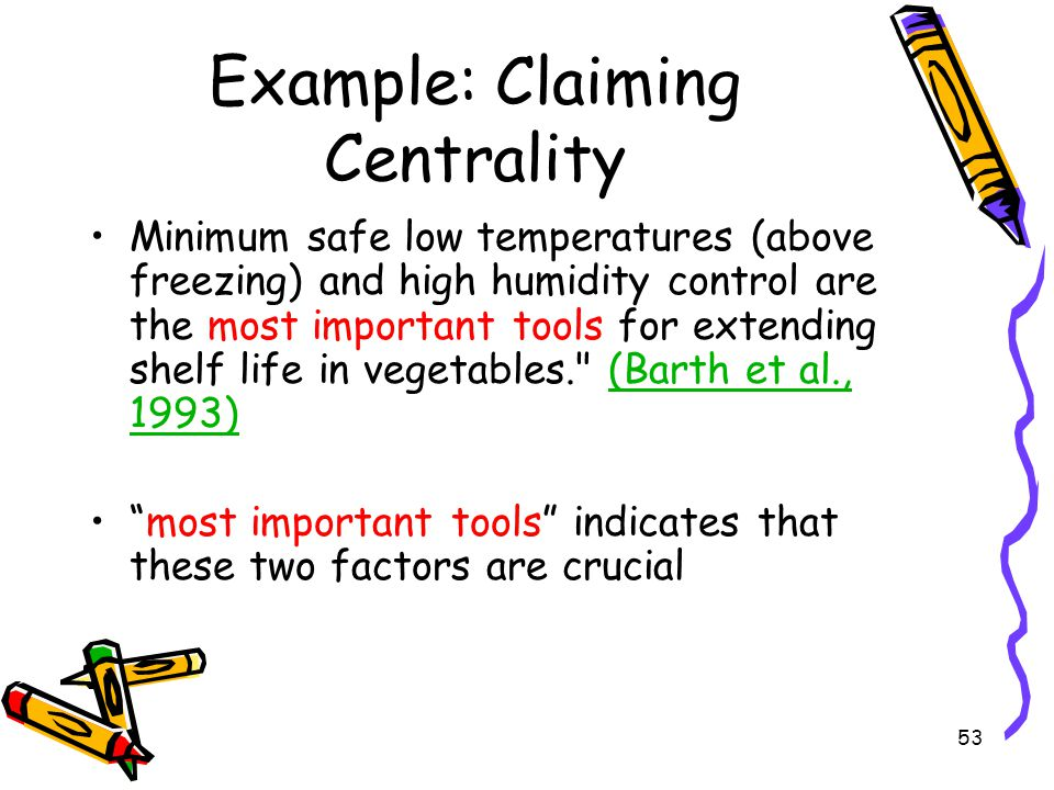 Example: Claiming Centrality