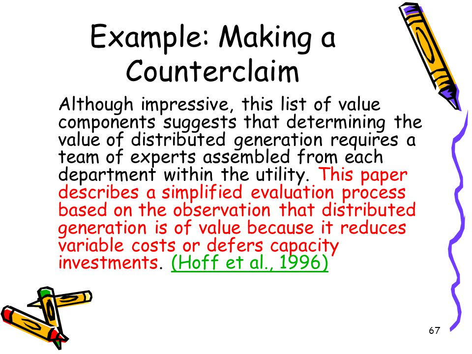 Example: Making a Counterclaim
