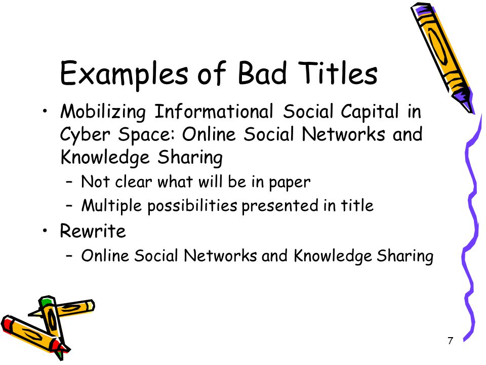 Examples of Bad Titles Mobilizing Informational Social Capital in Cyber Space: Online Social Networks and Knowledge Sharing.