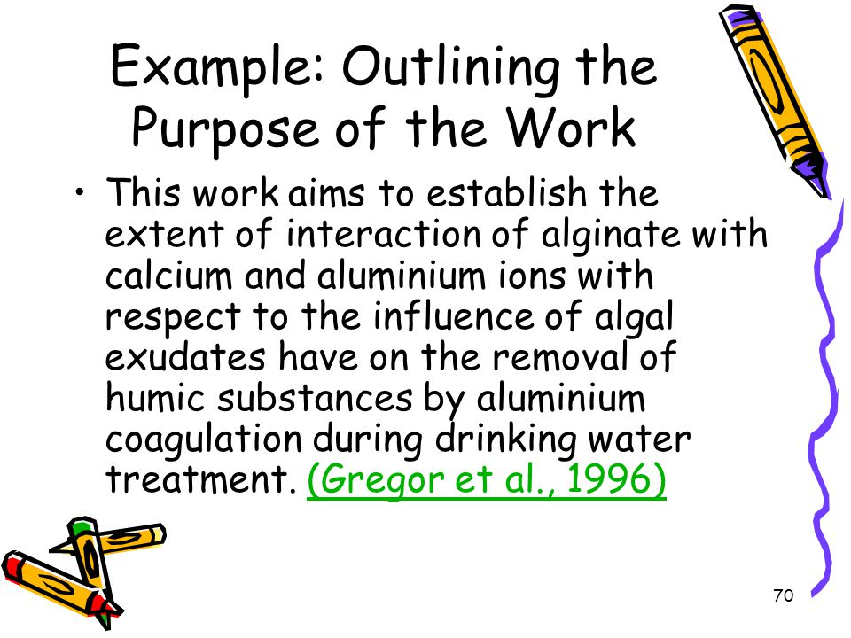 Example: Outlining the Purpose of the Work