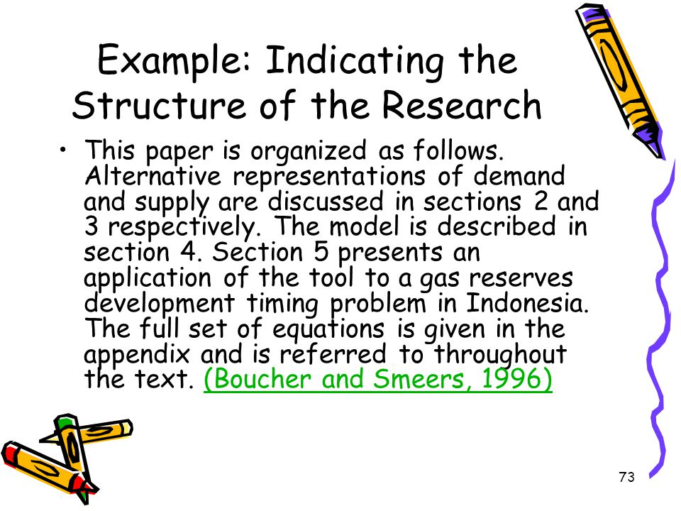 Example: Indicating the Structure of the Research