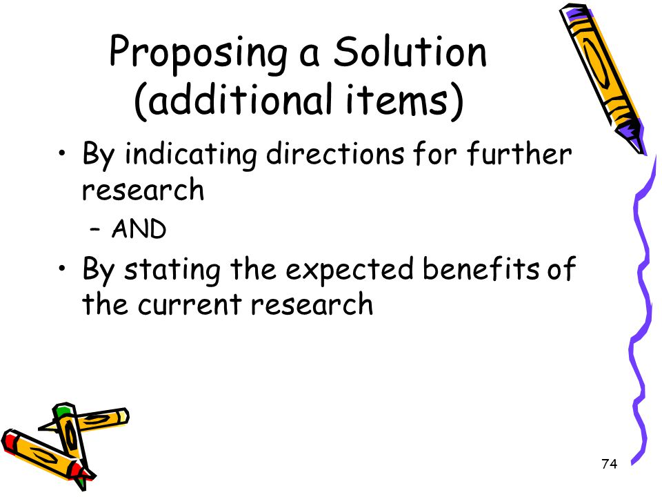 Proposing a Solution (additional items)
