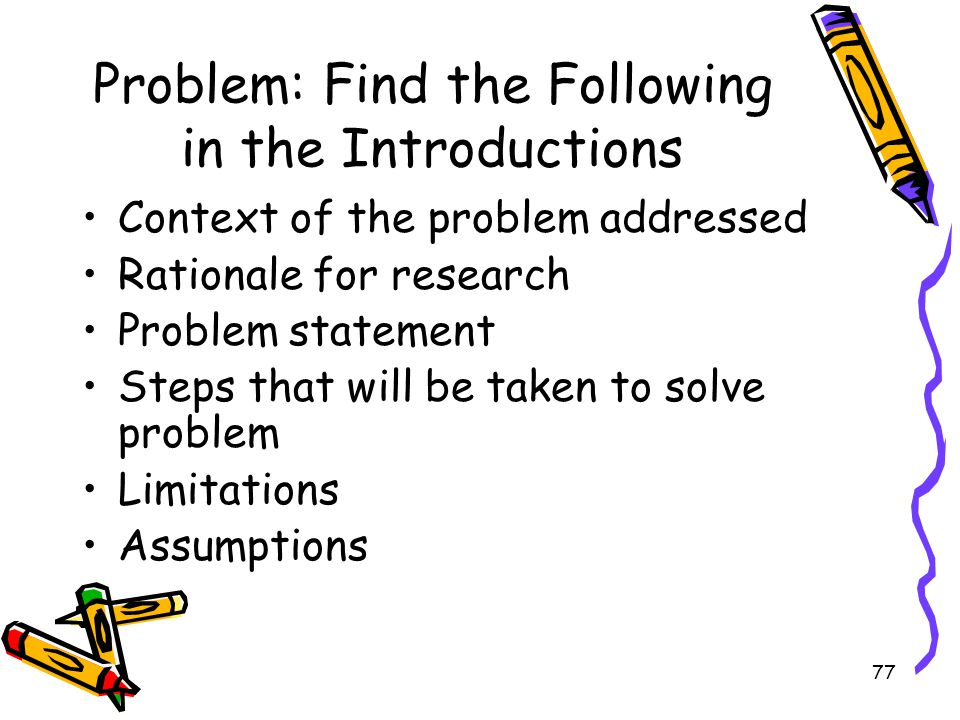 Problem: Find the Following in the Introductions