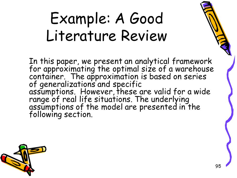 Example: A Good Literature Review