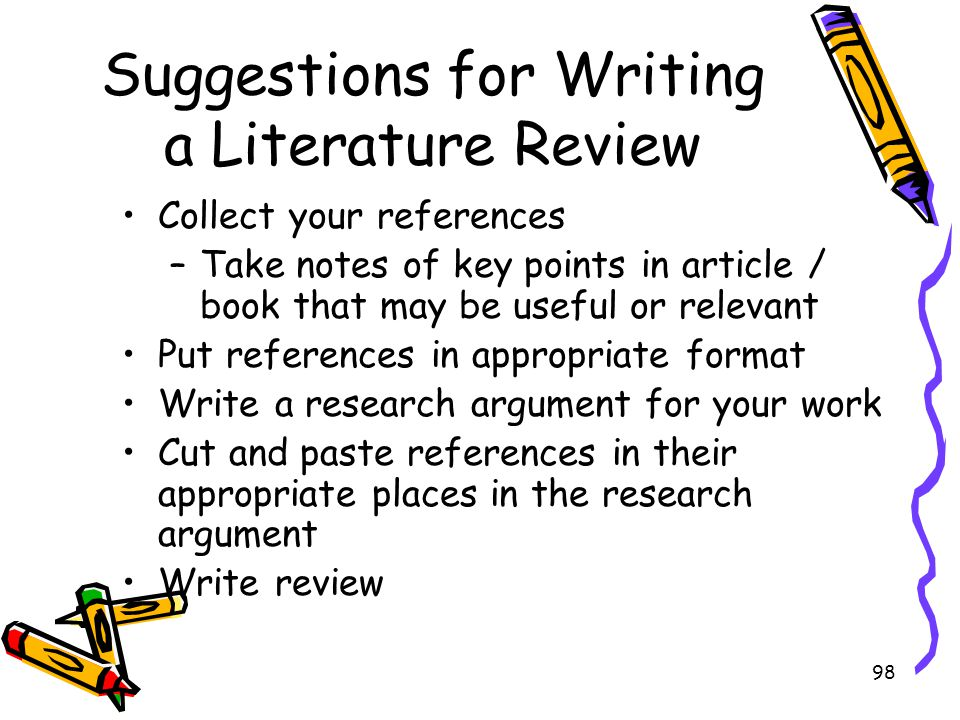 Suggestions for Writing a Literature Review