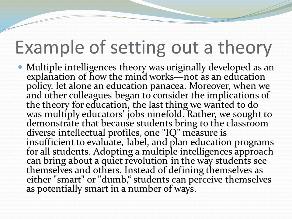 Example of setting out a theory