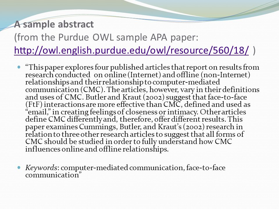 apa research paper abstracts How to write an apa abstract for a formal apa paper or research study.