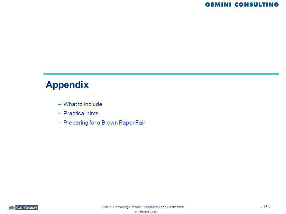 Appendix What to include Practical hints