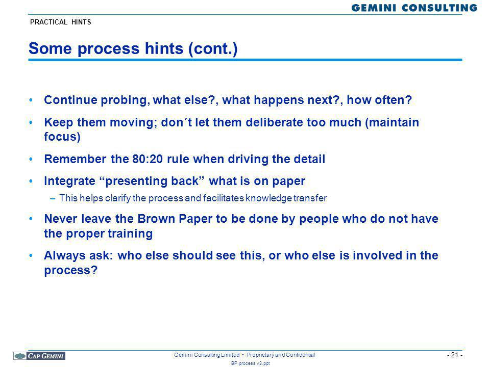 Some process hints (cont.)