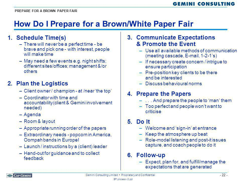 How Do I Prepare for a Brown/White Paper Fair