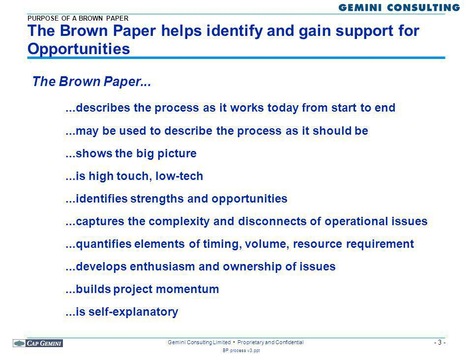The Brown Paper helps identify and gain support for Opportunities