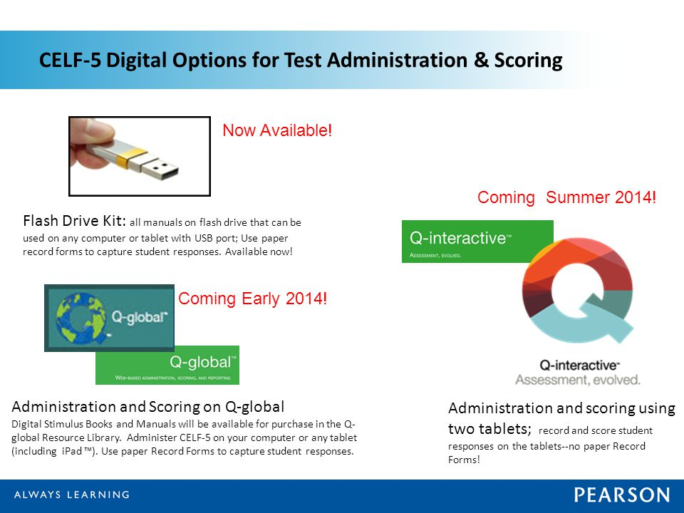 CELF-5 Digital Options for Test Administration & Scoring