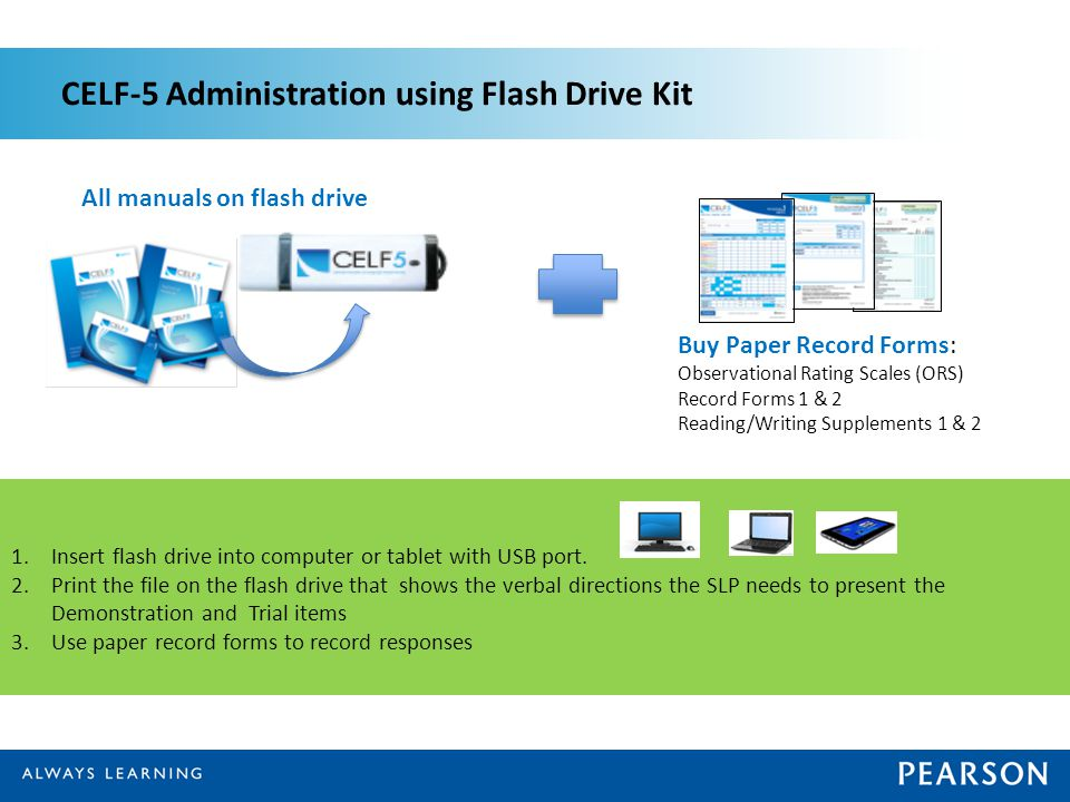 CELF-5 Administration using Flash Drive Kit