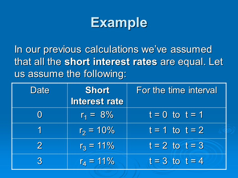 Example In our previous calculations we've assumed that all the short interest rates are equal. Let us assume the following: