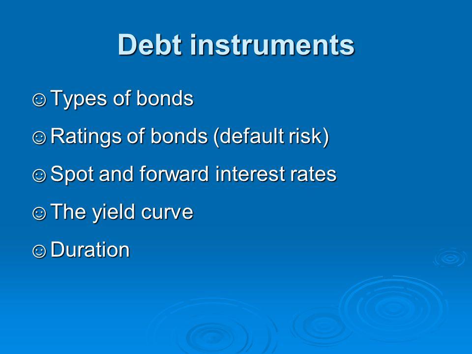 Debt instruments Types of bonds Ratings of bonds (default risk)