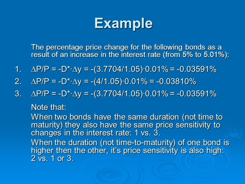 Example ∆P/P = -D*·∆y = -(3.7704/1.05)·0.01% = -0.03591%
