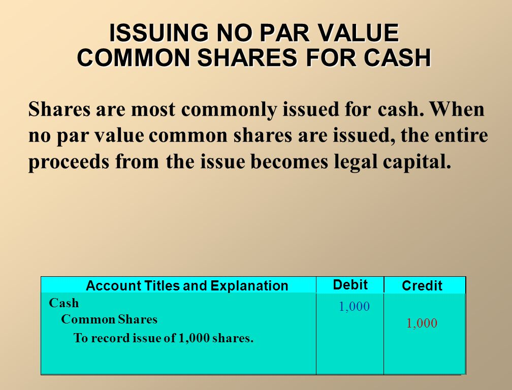 ISSUING NO PAR VALUE COMMON SHARES FOR CASH