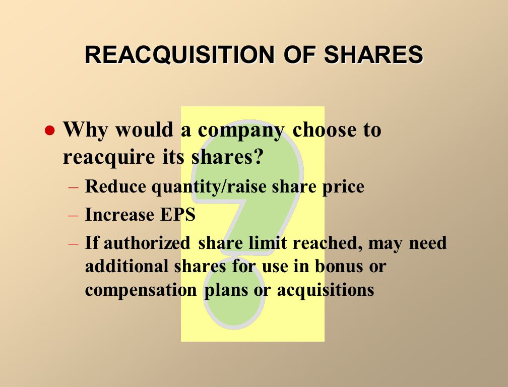 REACQUISITION OF SHARES