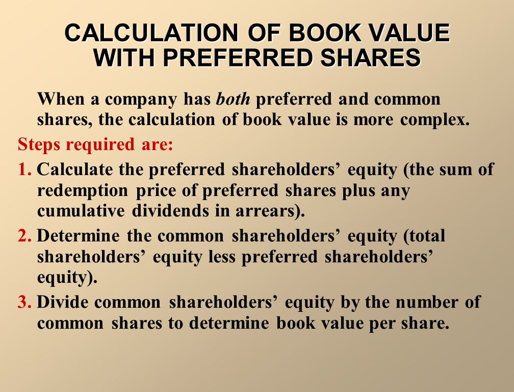 CALCULATION OF BOOK VALUE WITH PREFERRED SHARES