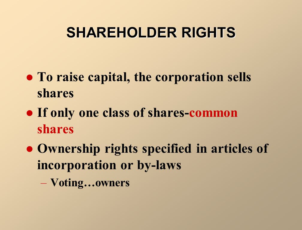 SHAREHOLDER RIGHTS To raise capital, the corporation sells shares