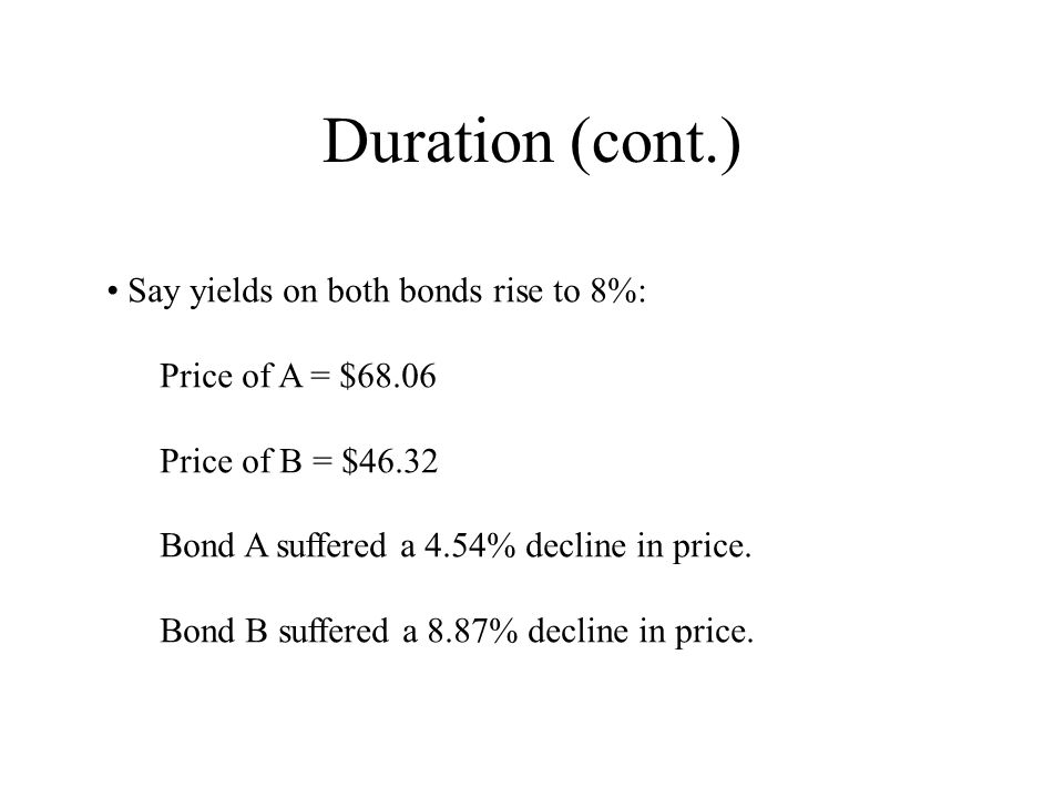 Duration (cont.) Say yields on both bonds rise to 8%: