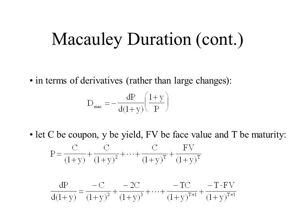 Macauley Duration (cont.)